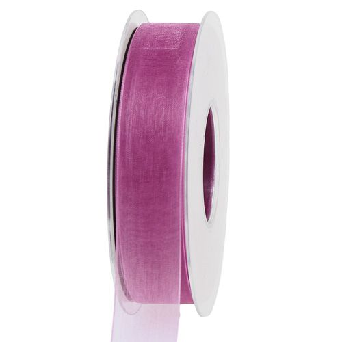 Organza ribbon eggplant 25mm 50m