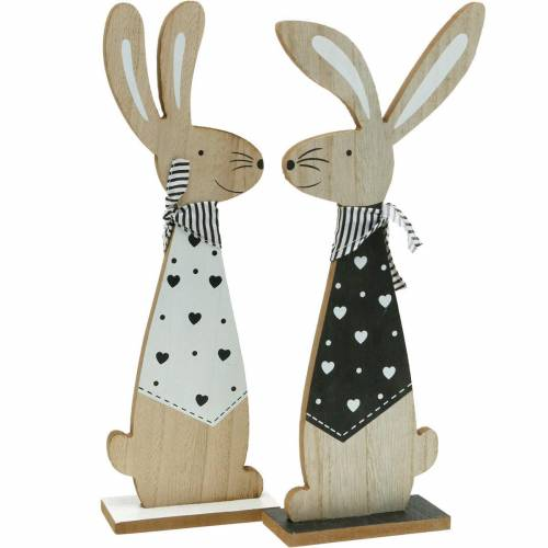Easter bunny black and white Easter decoration wooden bunny figure set of 2