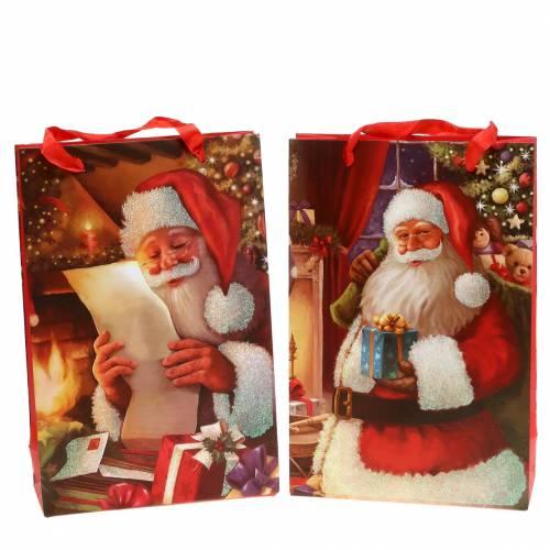 Gift bags set Christmas motif Santa red 20cm × 30cm × 8cm