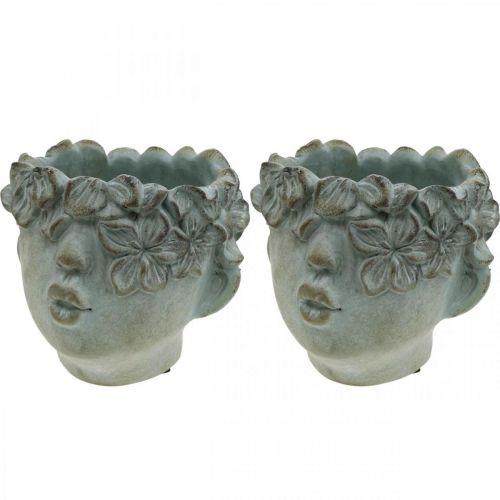 Head for planting, bust made of concrete, flower decoration, plant bowl antique look H10cm 2pcs