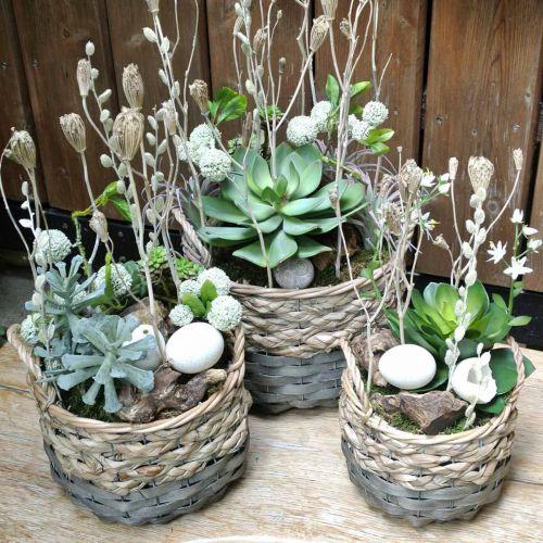Plant basket, woven basket for planting, round flower basket natural, gray Ø29 / 23.5 / 18cm, set of 3