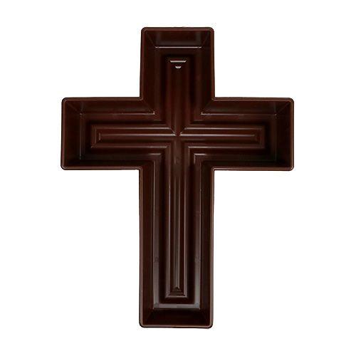 Floral cross, brown, 24cm x 32cm, 1Pc