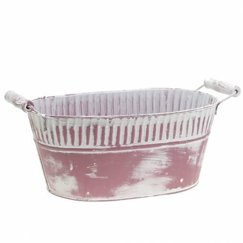 Planter oval purple washed white 28cm x 17cm H12cm