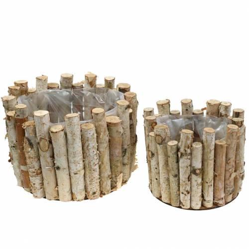 Plant pot round birch Ø22 / 30cm, set of 2