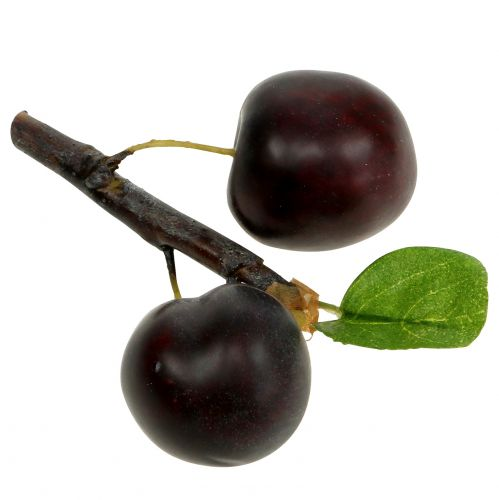 Artificial plum branch with 2 plums 12cm