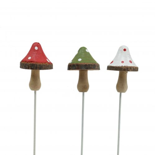 Wooden mushrooms to stick assorted 4cm 12pcs