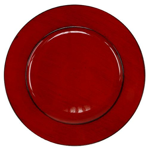 Plastic plate Ø33cm red-black