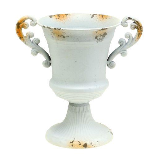 Planter Cup Antique look White Ø14cm H21cm