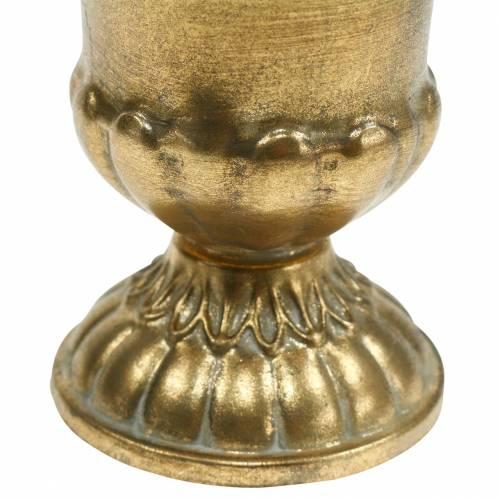 Cup antique look golden metal Ø9cm H12.5cm