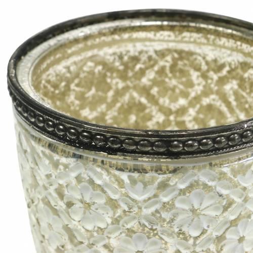 Tealight glass cup silvered glass floral Ø9cm H13,5cm