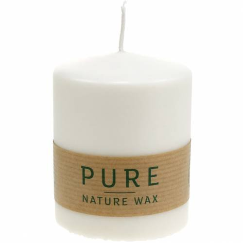 PURE Nature pillar candle, sustainable natural candle made of stearin and rapeseed wax 90 / 70mm