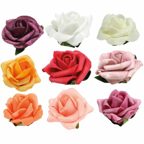 Foam-Rose Ø3,5cm different colors 48pcs
