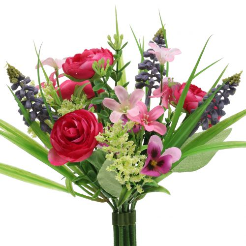 Ranunculus bouquet with grape hyacinths Pink 25cm