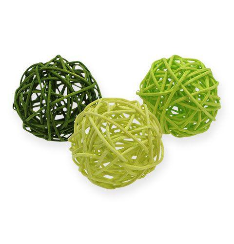 Rattan balls Ø4,5cm Green assorted 30pcs