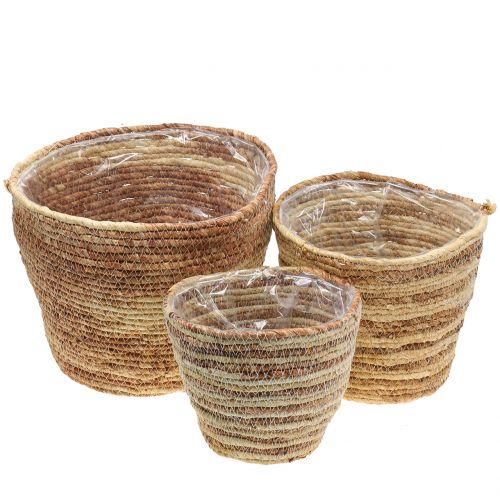 Rattan basket natural/brown Ø26/22/16cm 3pcs