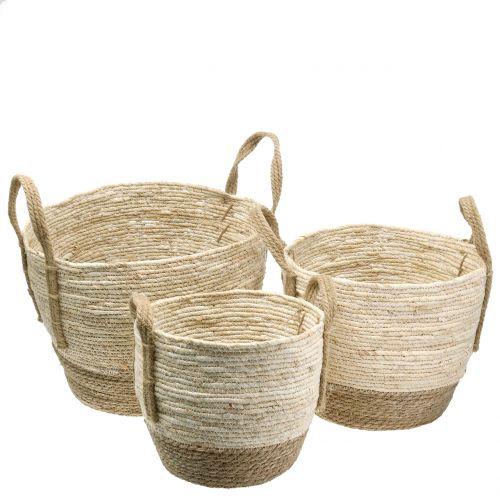 Rattan basket natural/brown Ø40/32/26cm 3pcs