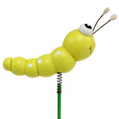 Wooden caterpillar on a stick Green, yellow 8cm 24pcs