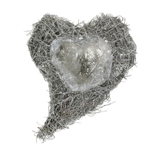 Vine heart washed white 16cm x 21cm 1pc