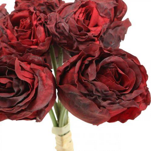 Artificial roses red, silk flowers, rose bunch L23cm 8pcs