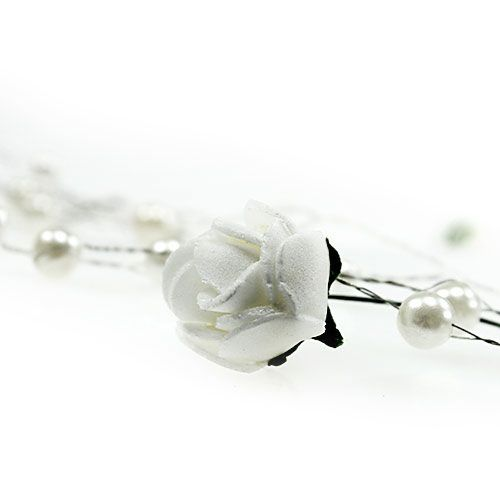 Rose garland with pearls white 135cm