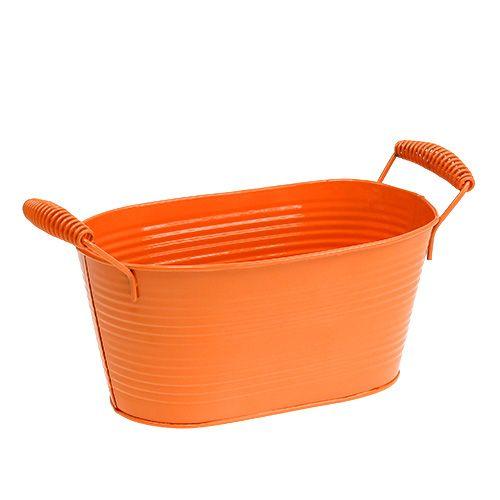 Oval flower pot Zinc Orange 20cmx12cm H9cm