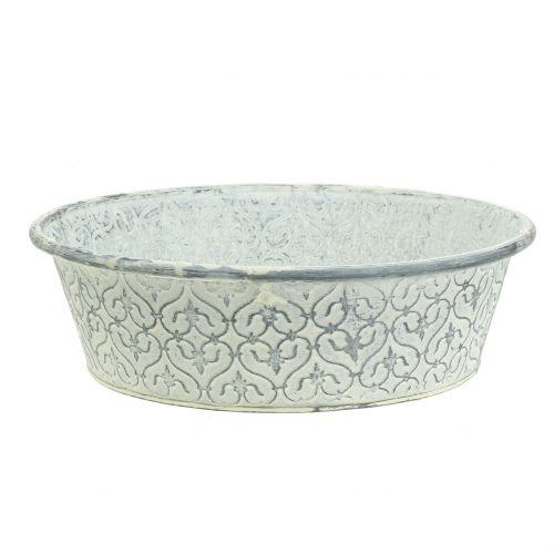 Zinc bowl with decor cream washed Ø28cm H8cm