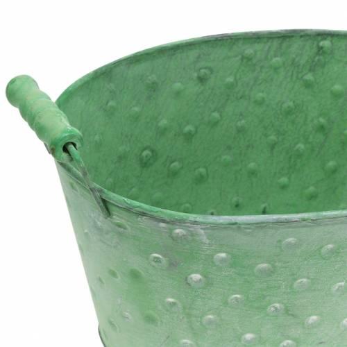 Decorative bowl planter metal green oval 25.5x18.5cm H13cm