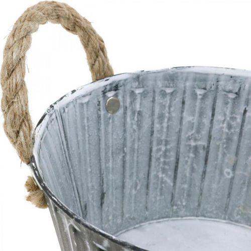 Metal bowl for planting, plant pot with handles, flower bowl Ø22cm