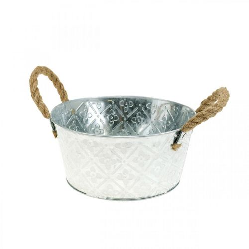 Planter bowl, metal pot with flower pattern, flower pot with handles Ø18cm