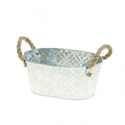 Decorative bowl oval silver with handles metal planter bowl 22.5 × 13.5cm