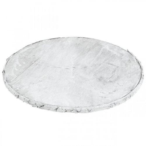 Decorative wooden disc vintage table decoration white plywood Ø25cm