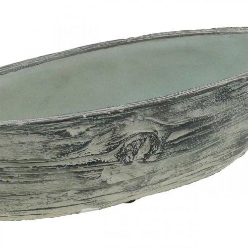 Planter bowl oval ceramic boat wooden design 37 × 11.5cm H10cm