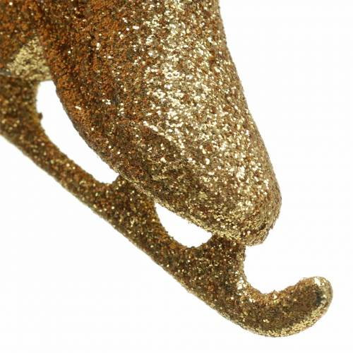 Christmas tree decorations ice skate gold, glitter 8cm 12pcs