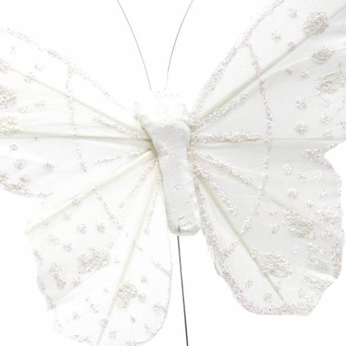 Feather butterfly on wire white with glitter 10cm 12pcs