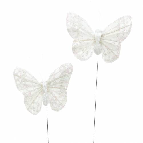 Feather butterfly with wire white, glitter 5cm 24pcs