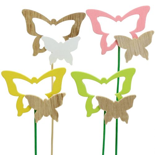 Deco plug butterfly assorted colors H24cm 24pcs