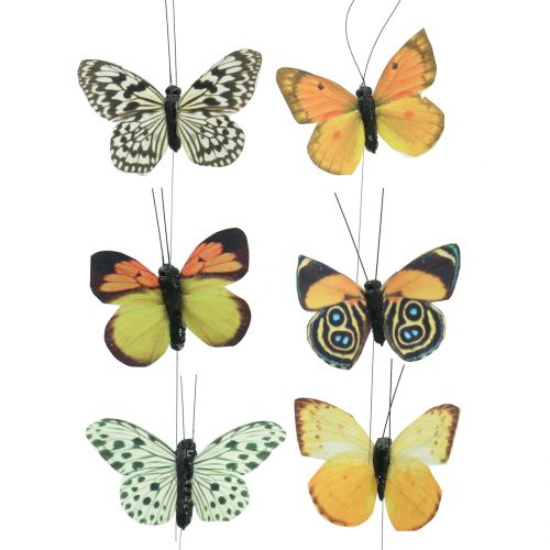 Butterfly on wire nature 6-8cm 12pcs