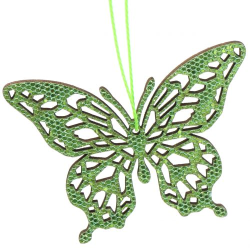 Decoration to hang Butterfly Green Glitter8cm 12pcs