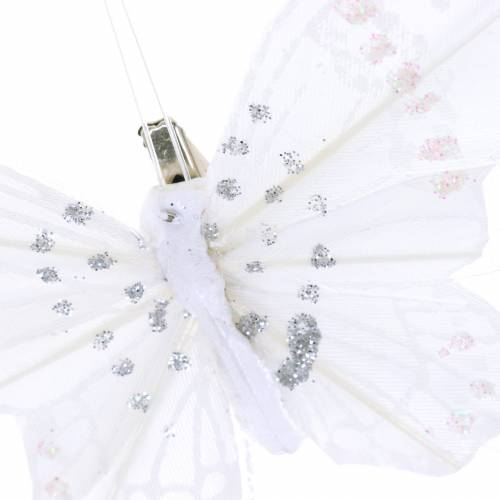 Feather butterfly on clip white 10cm 12 pcs