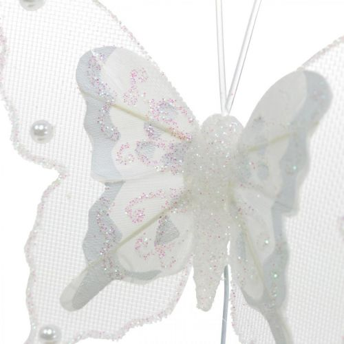 Butterflies with pearls and mica, wedding decorations, feather butterflies on white wire
