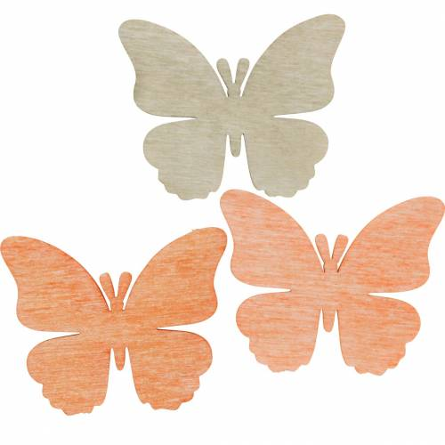 Butterflies to sprinkle Decorative butterfly wood orange, apricot, brown 72pcs