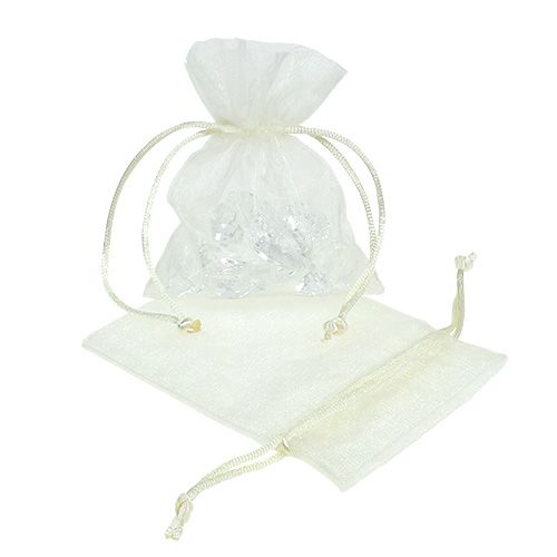 Jewelery bag made of organza cream 12x9cm 10pcs