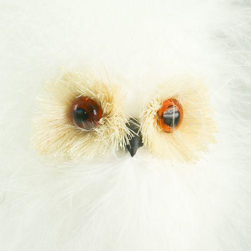 Snowy owl on wooden stick 7cm L28cm 6pcs