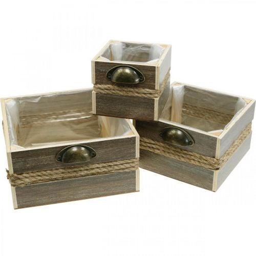 Planter box, wooden drawer, flower box, 26/20/14 cm, set of 3
