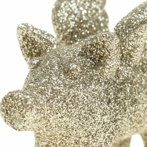 Deco pig with wings gold mica 6cm