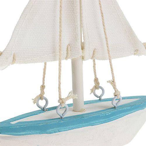 Sailboat 10cm x 14cm white-blue