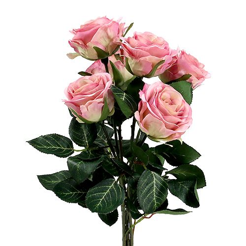 Silk Flowers Rose Ø7cm L37cm old pink 6pcs