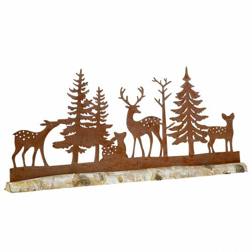 Forest silhouette with animals Patina on wooden foot 57cm x 25cm