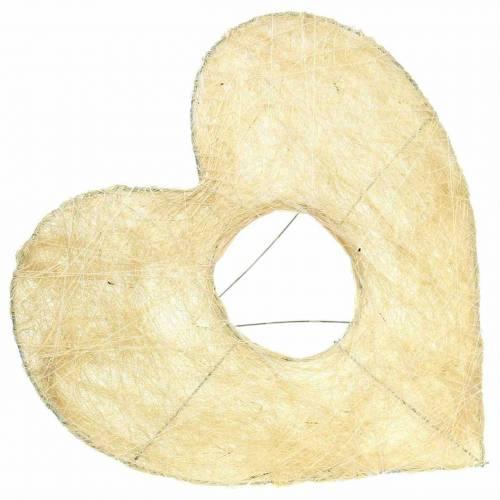 Sisal cuff heart bleached 25.5cm 10pcs