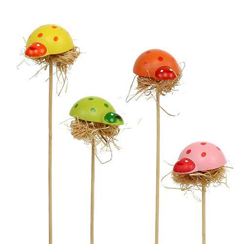 Decorative plug ladybug wood spring decoration flower pot 36pcs